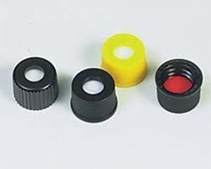 Picture of 10-425mm Black Open Hole Polypropylene Closure, Red PTFE/Silicone Septa, 0.060""