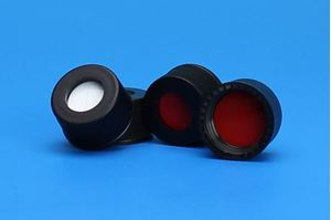 Picture of 13-425mm Black Open Hole Polypropylene Closure, Red PTFE/Silicone Septa, 0.065""