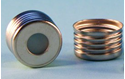 "Picture of 18mm Silver Magnetic (Metal) Closure with 0.060"" Blue PTFE/Silicone Liner (Shore A 45)"
